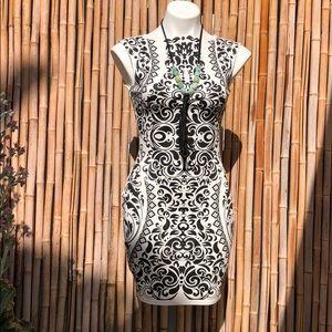 Black & White Tribal Bodycon Dress Small